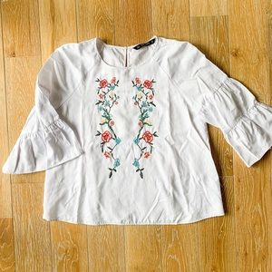 Zara Embroidered Beaded Blouse